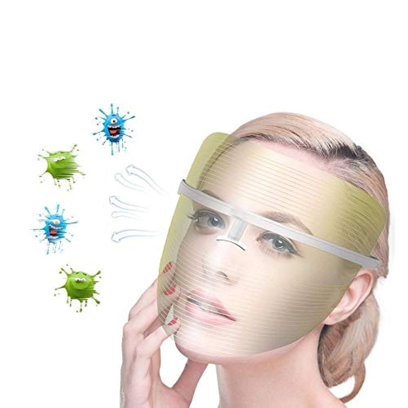 不完全な成功副詞ライトセラピー?マスク、ライトセラピーは、にきびスポットリンクル傷を硬化、にきび治療3色フェイスフォトンは、フェイススキンケア若返りのためのアンチエイジングスキンケアマスクマスク (Color : White)