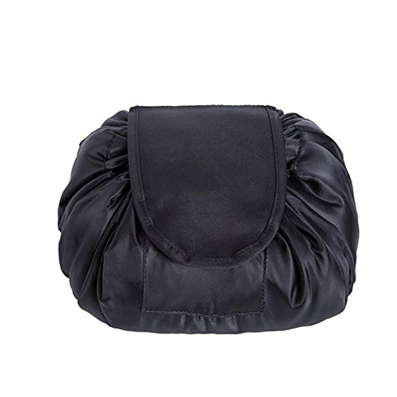 SimonJp メイクポーチ 化粧ポーチ 化粧品収納 収納ポーチ 多機能 大容量 巾着袋 防水 携帯 軽量 旅行 便利 ブラック
