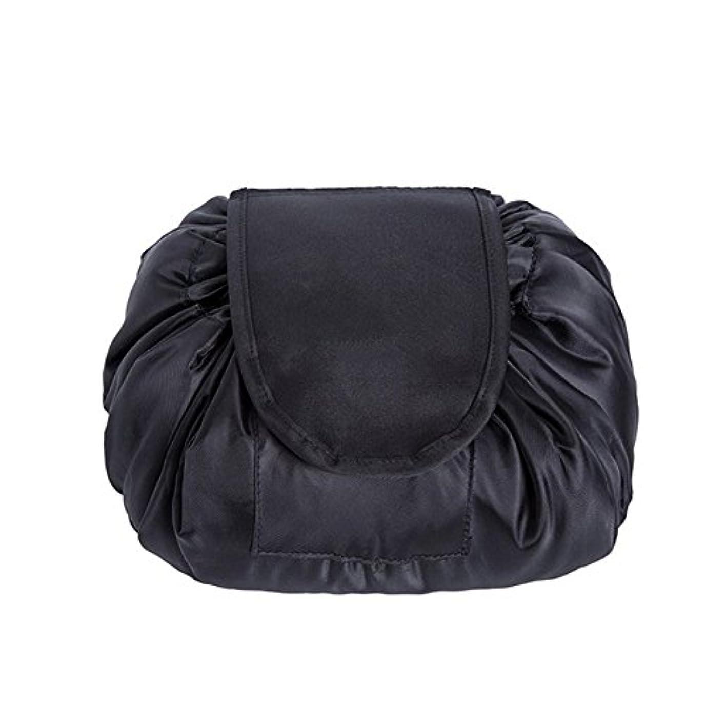 津波ずんぐりした社会科SimonJp メイクポーチ 化粧ポーチ 化粧品収納 収納ポーチ 多機能 大容量 巾着袋 防水 携帯 軽量 旅行 便利 ブラック