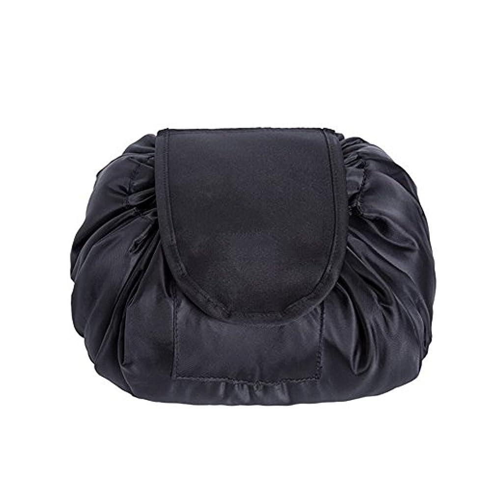 怠別にアイデアSimonJp メイクポーチ 化粧ポーチ 化粧品収納 収納ポーチ 多機能 大容量 巾着袋 防水 携帯 軽量 旅行 便利 ブラック