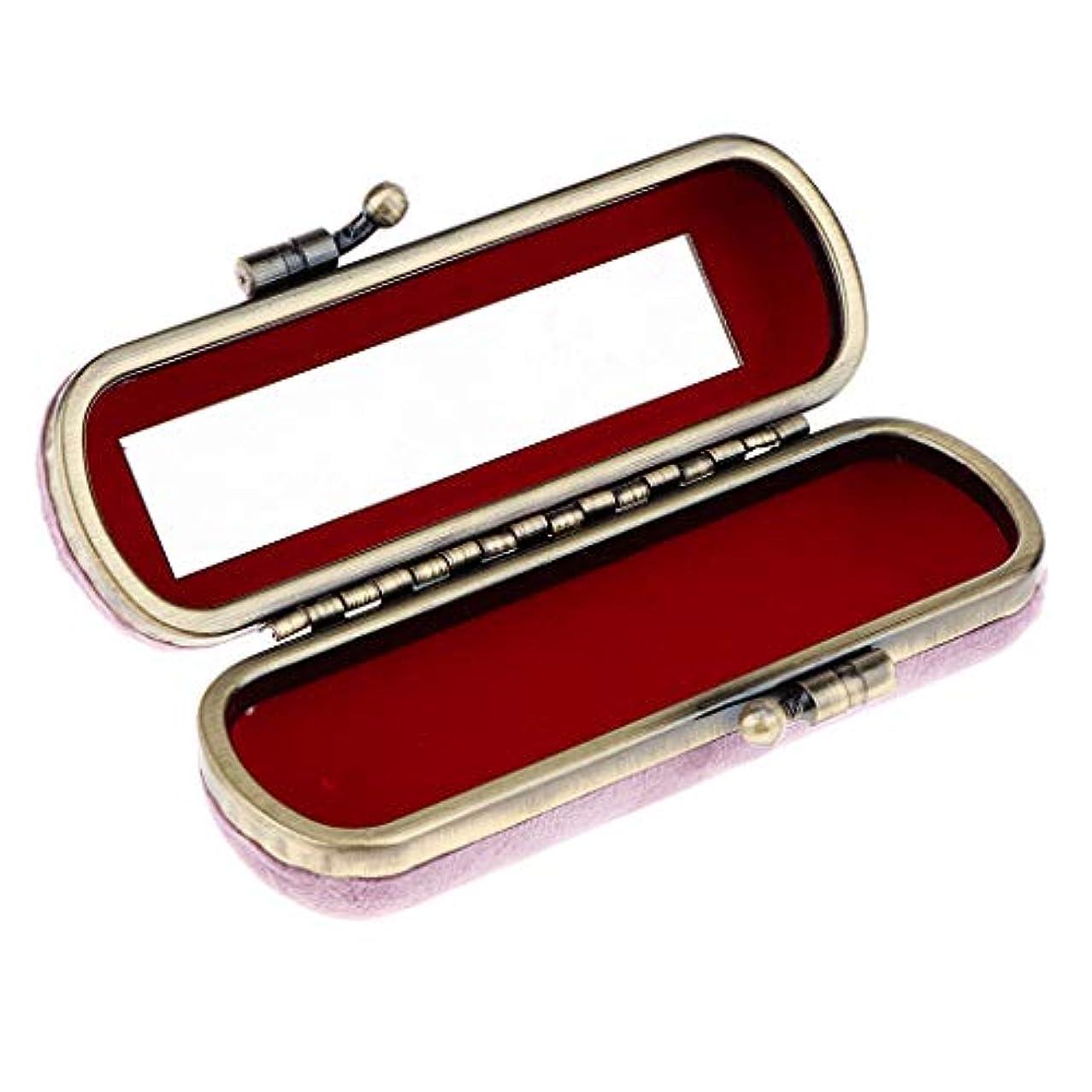 CUTICATE 8色選ぶ ヴィンテージ 化粧ポーチ 口紅ホルダー ミラー付き リップグロスホルダー 化粧ケース - ピンク