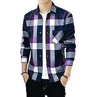 chenshiba-JP メンズ暖かいフリース格子縞の厚いロングスリーブスリムフィットボタンダウンドレスシャツ Purple XL