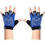 Luwint Fingerless Fishing Gloves for Kids, Half Finger Grip Sun Protection Gloves for Child 5-8 Yrs Old Cycling Camping Hiking (Blue)