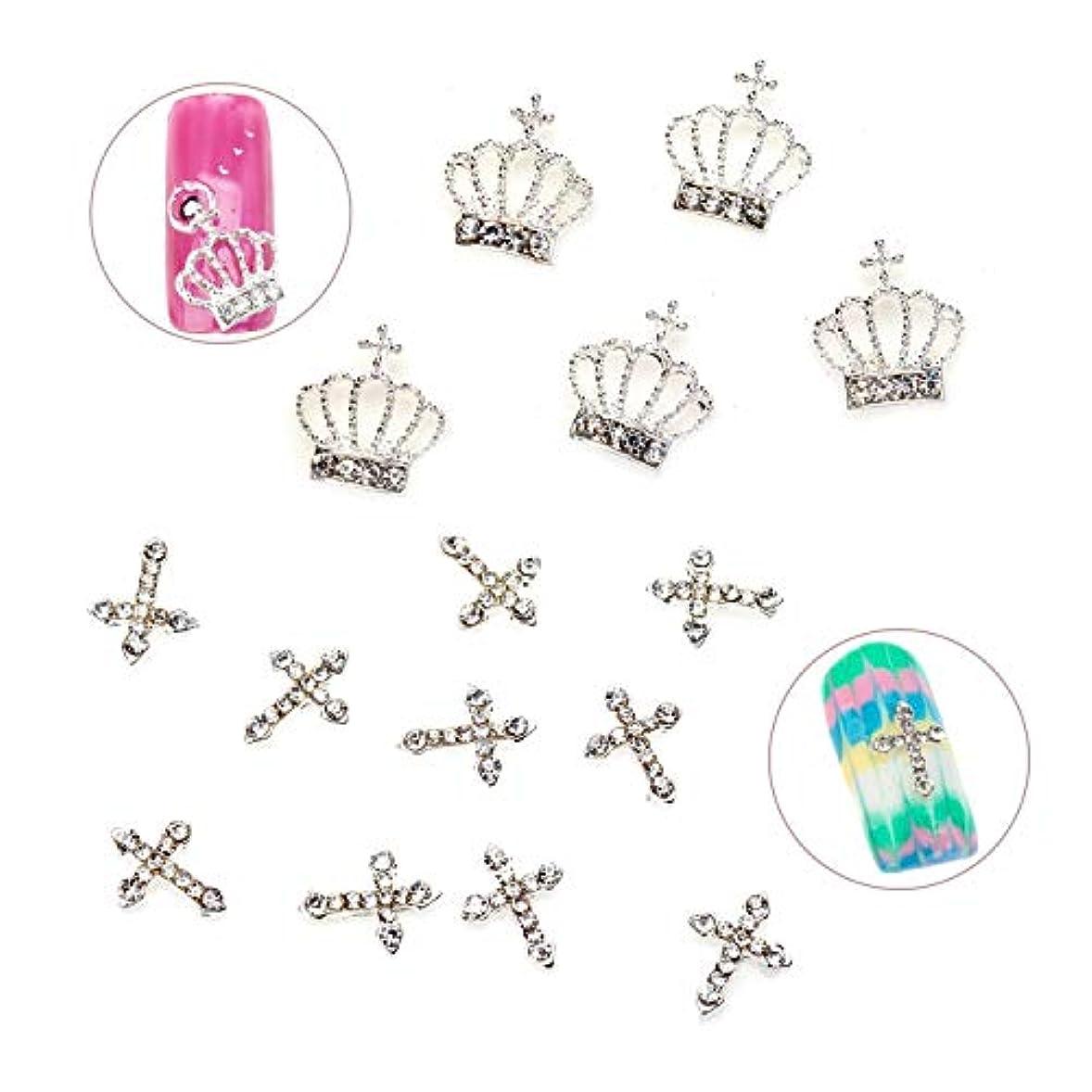 ストラップ証拠ラフトラインストーン/宝石/クリスタル/宝石と王冠と十字架を含む15個の品質の金属3D装飾のユニークなプロのネイルアートセット