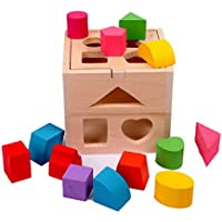 Montessori Sorting Cube Intellectual 13 Holes Shape Box Educational Wooden Toy