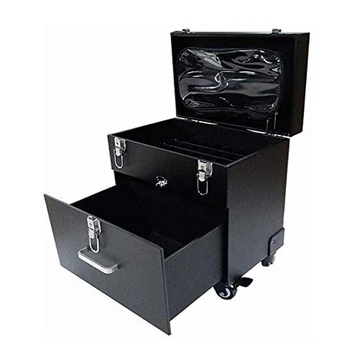 レガシーつば器用YWAWJ 引き出しタトゥーユニバーサルホイールネイル特殊ツールボックスローリングトラベルケース付きメイクアップアーティストローリングメイクトロリーアーティストケースコスメティックオーガナイザーケース高容量 (Color : Black)