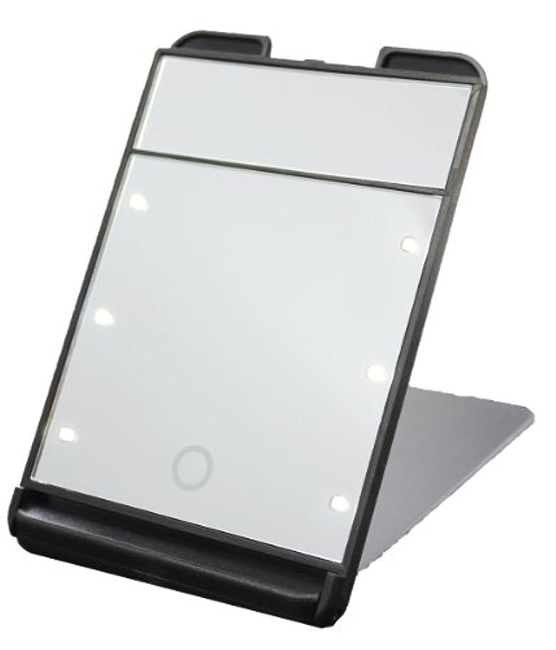 3倍拡大鏡付 LED コンパクト ブライトニングミラー タッチミニ YLD-1600 ブラック