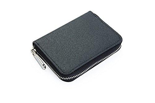 DICE コインケース ビジネス 財布 小銭入れ メンズ 二つ折り財布 レザー ラウンドファスナー ラウンドジップ カード入れ (ブラック)