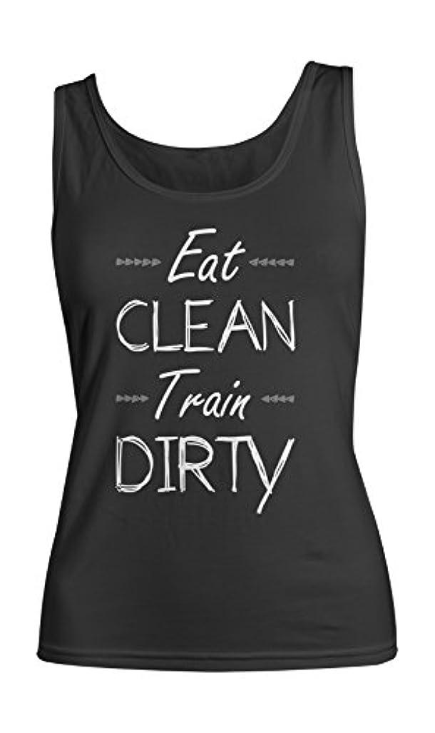 輪郭恐竜間隔Eat Clean Train Dirty Fit Gym Sport Fitness Bodybuilding レディース Tank Top Sleeveless Shirt