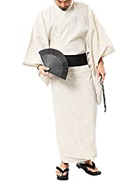 (ロシェル) roshell メンズ 浴衣 5点セット (浴衣 帯 下駄 信玄袋 扇子) ワンタッチ帯 簡単着付け 浴衣 メンズ 浴衣セット