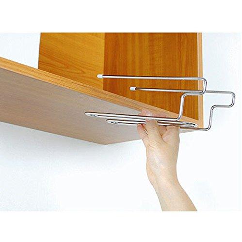 Inc T&B ワイングラスホルダー グラスハンガー ラック ステンレス製 吊り下げ 穴あけ不要 ネジ止め不要 2レーン ロングタイプ (板の厚さが2~3cmまで対応) (第3版3cm)