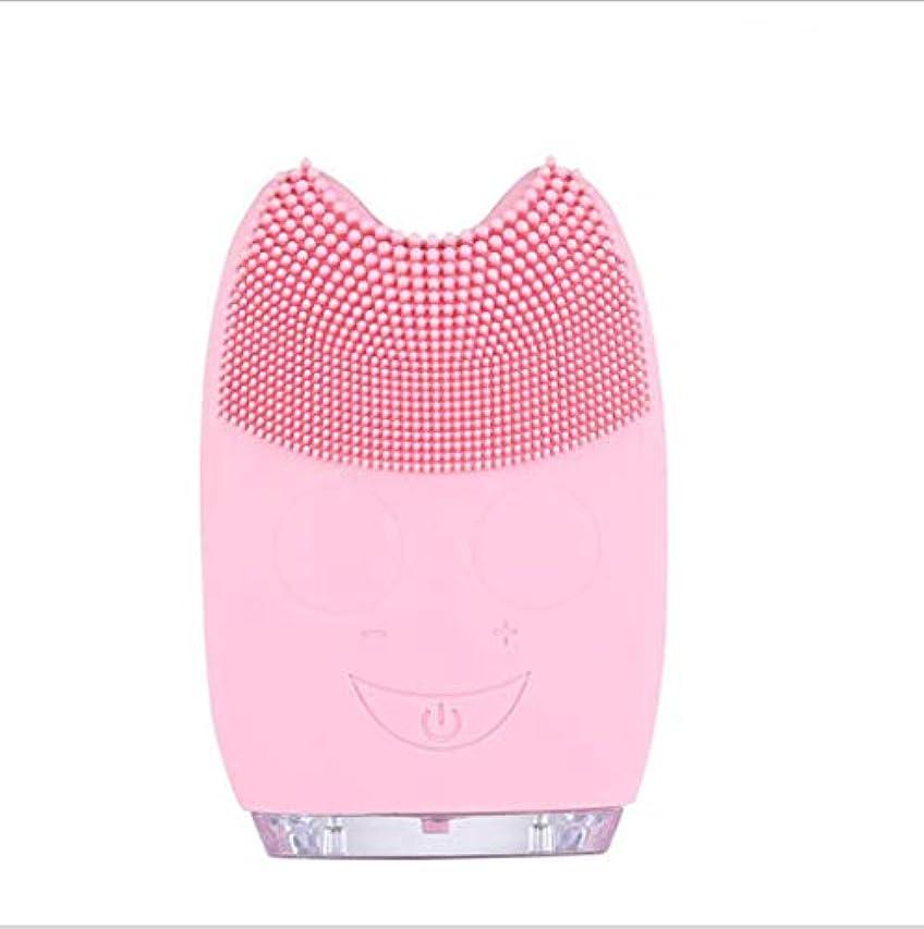 ヒットのためはっきりしないすべての肌のタイプに適した角質除去とアンチエイジング顔マッサージのためのシリコーン電気クレンジングブラシ,Pink