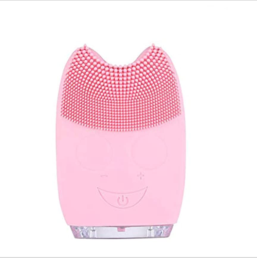 困ったリフトインポートすべての肌のタイプに適した角質除去とアンチエイジング顔マッサージのためのシリコーン電気クレンジングブラシ,Pink