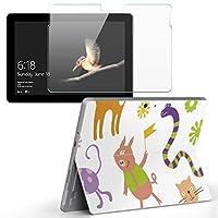 Surface go 専用スキンシール ガラスフィルム セット サーフェス go カバー ケース フィルム ステッカー アクセサリー 保護 ラブリー 動物 キャラクター 花 003814