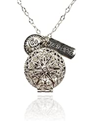 Namaste and Om Silver-tone Charms Aromatherapy Necklace Essential Oil Diffuser Locket Pendant Jewelry w/reusable...