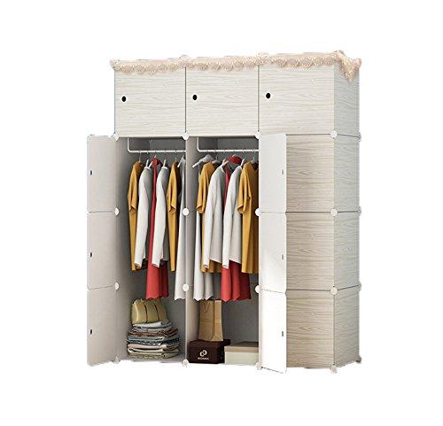 LifeDIY クローゼット 組み立て式 ワードローブ 洋服収納ラック 防塵・防汚・防水 かび対策 DIY 収納ボックス 大容量 整理タンス おしゃれ 収納棚 白いもくめ12