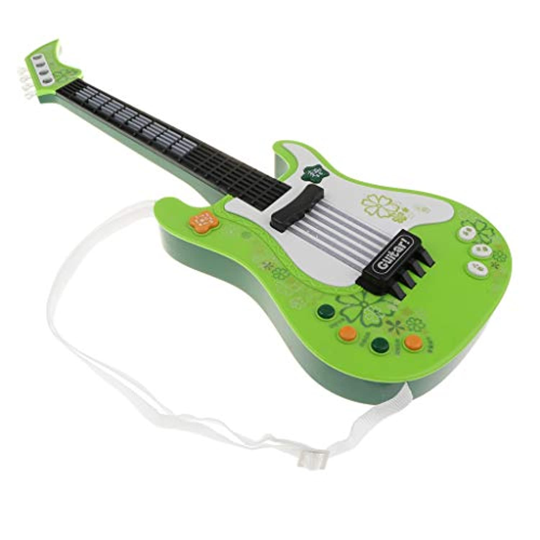 B Blesiya ウクレレ 電動ギター 音楽玩具 子ども 音楽教育玩具 知育玩具 4色選択 - グリーン