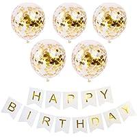誕生日 飾り付け バルーン HAPPY-BIRTHDAY コンフェッティ風船
