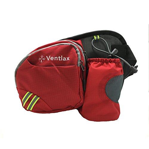 【Ventlax】 ウエストバッグ 多機能 軽量 撥水 ナイロン 水筒・ペットボトルホルダー付き 釣り ウォーキング ランニング などアウトドアシーンに 全7色 (カーマインレッド)