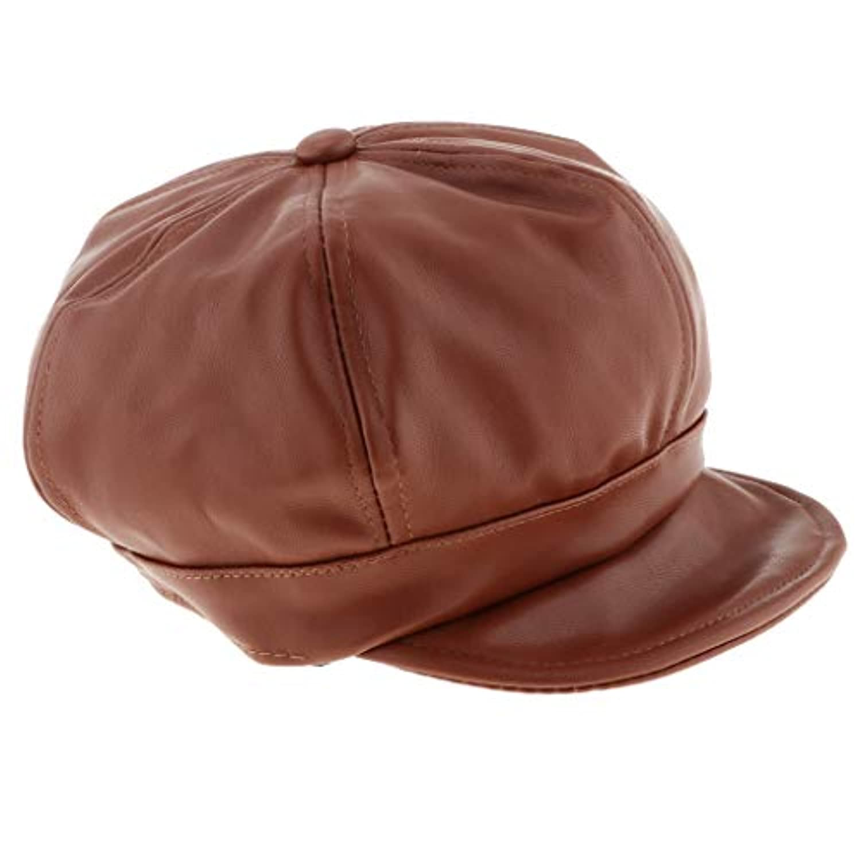 Fenteer 全3色 ユニセックス 子供 PU製 ハンチング フラットキャップ ハット ハンチング帽 ベレー帽 軽量