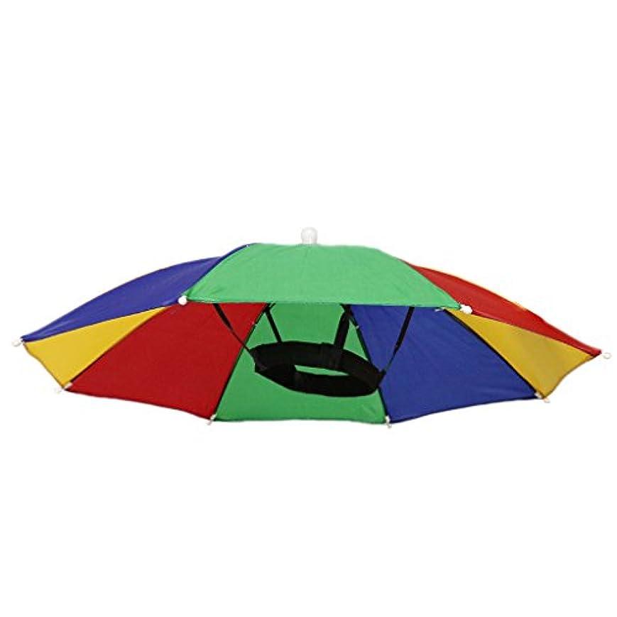 【ノーブランド品】 釣り ハイキング ゴルフ ビーチ 折り畳み式 帽子 パラソル傘 傘ハット 傘帽子 3色 - C