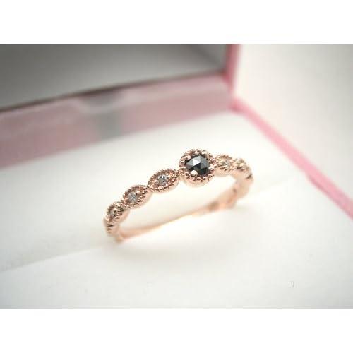 ローズカットリング/ブラックダイヤモンド 指輪 ring レディース 【ピンクゴールドタイプ・18号】
