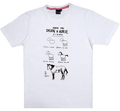 馬の描き方 How to draw a horse おもしろ ジョーク 半袖 Tシャツ (Mサイズ)