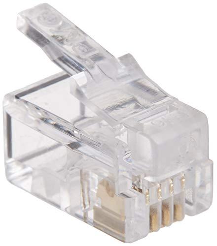 TARO'S RJ11/12モジュラープラグ コネクタ 受話器カールコード用 4極4芯(4P4C) 200個入 エコ簡易パッケージ CRJ11-200P44