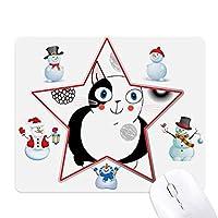動物のかわいい太った猫の笑顔 クリスマス・雪人家族ゴムのマウスパッド
