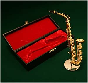 飾り物 ミニチュア楽器 アルトサックス ゴールド1/6サイズ