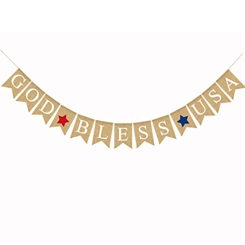 Funpa ガーランド アメリカ 独立記念日 USA お祝い テーマパーティー デコレーション 掛け飾り リネン製