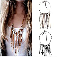 Edary Vintage Coin Tassel Necklace Suede Beaded Necklaces Jewelry for Women and Girls. (Black)