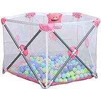ホーム屋内ゲームクロールマット子供のフェンスフェンスの家の幼児の折り畳みの安全フェンス (Color : Pink, Size : 110 * 72cm)