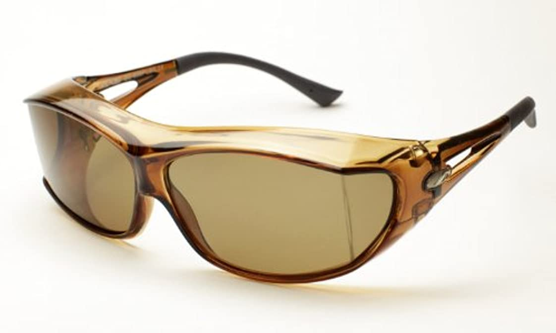トーストうつ毎週オーバーサングラス AXE(アックス)SG605P-LBR ライトブラウン メガネの上から掛ける 偏光 オーバーグラス