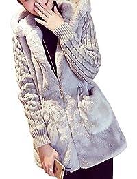 [セカンドルーツ] ファー ポケット 袖ニット コート アウター パーカー フード 異素材 レディース ニットスリーブファーCT