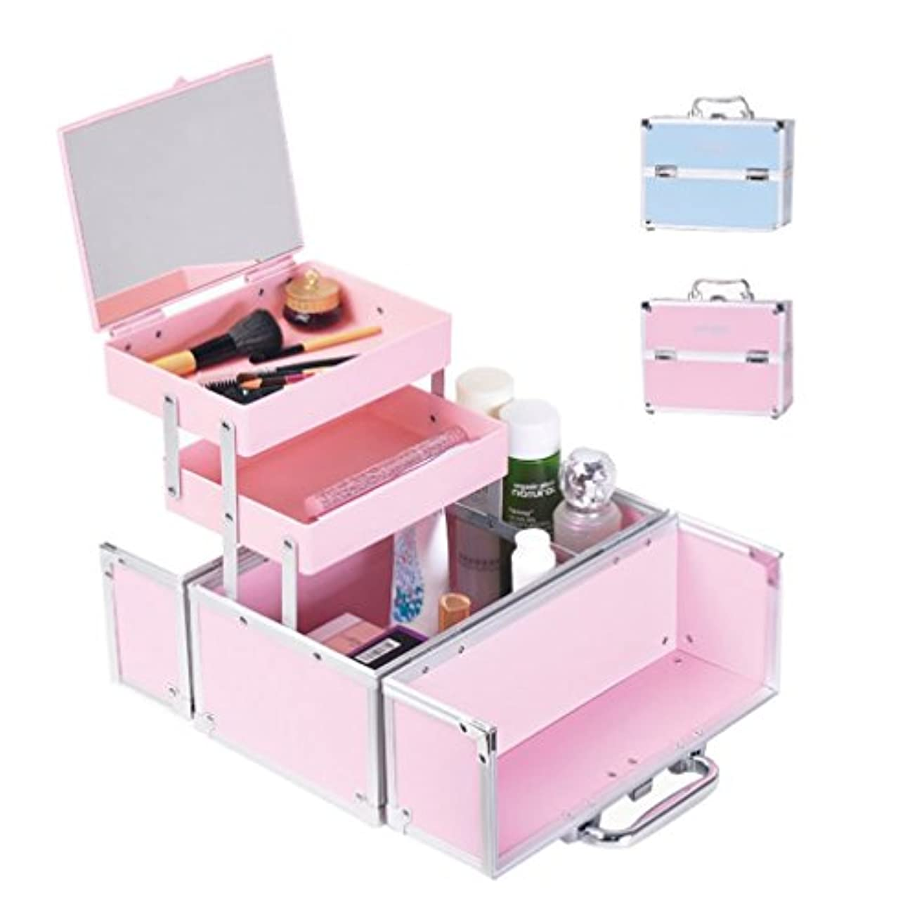 相対性理論タイムリーな平方「XINXIKEJI」メイクボックス コスメボックス 大容量 2段 鏡付き 洗える 化粧ボックス スプロも納得 収納力抜群 鍵付き かわいい 祝日プレゼント  取っ手付 コスメBOX ピンク