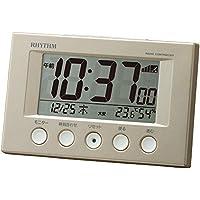 【Amazon.co.jp 限定】リズム時計 目覚まし時計 電波時計 温度計・湿度計付き フィットウェーブスマート パールホワイト・メタリック 8RZ166SR38