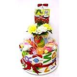 ご出産お祝い ダイバーケーキ 可愛いくって 人気の 「2段おむつケーキ R2 男女共用 はらぺこあおむし」 華やかな見栄えの 豪華版 パンパースS-26枚