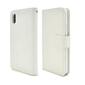 PLATA iPhone X ケース 手帳型 ストレート レザー スタンド ポーチ カバー iPhoneX アイフォンX 【 ホワイト 白 しろ white 】 IPX-5028WH