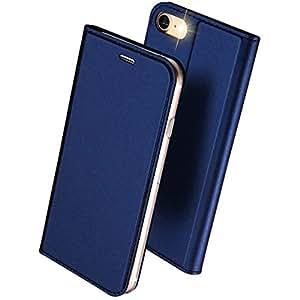 DUXDUCIS iPhone7 iPhone8 ケース 手帳型 合皮レザー 耐衝撃 カード収納 ブルー