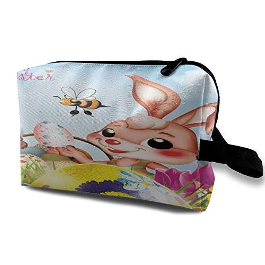 予想外スペース確認Happy Easter Bunny Eggs Butterfly 収納ポーチ 化粧ポーチ 大容量 軽量 耐久性 ハンドル付持ち運び便利。入れ 自宅?出張?旅行?アウトドア撮影などに対応。メンズ レディース トラベルグッズ