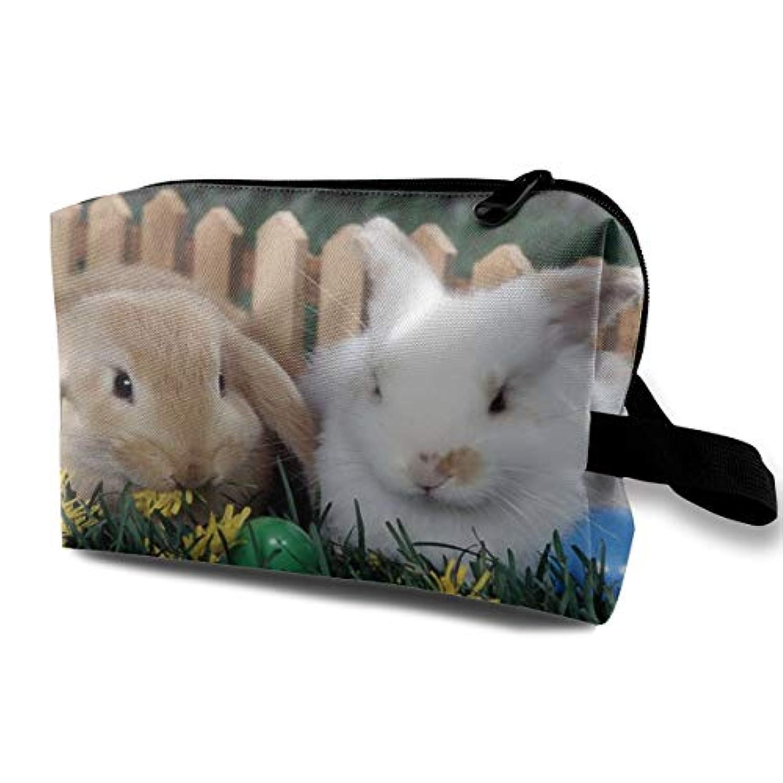 はさみ反発依存Easter Eggs And Cute Bunny 収納ポーチ 化粧ポーチ 大容量 軽量 耐久性 ハンドル付持ち運び便利。入れ 自宅?出張?旅行?アウトドア撮影などに対応。メンズ レディース トラベルグッズ