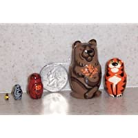 Russian mini Nesting doll Zoo (Bear, Tiger etc * 5 pcs / 1.5 in by Hand made [並行輸入品]