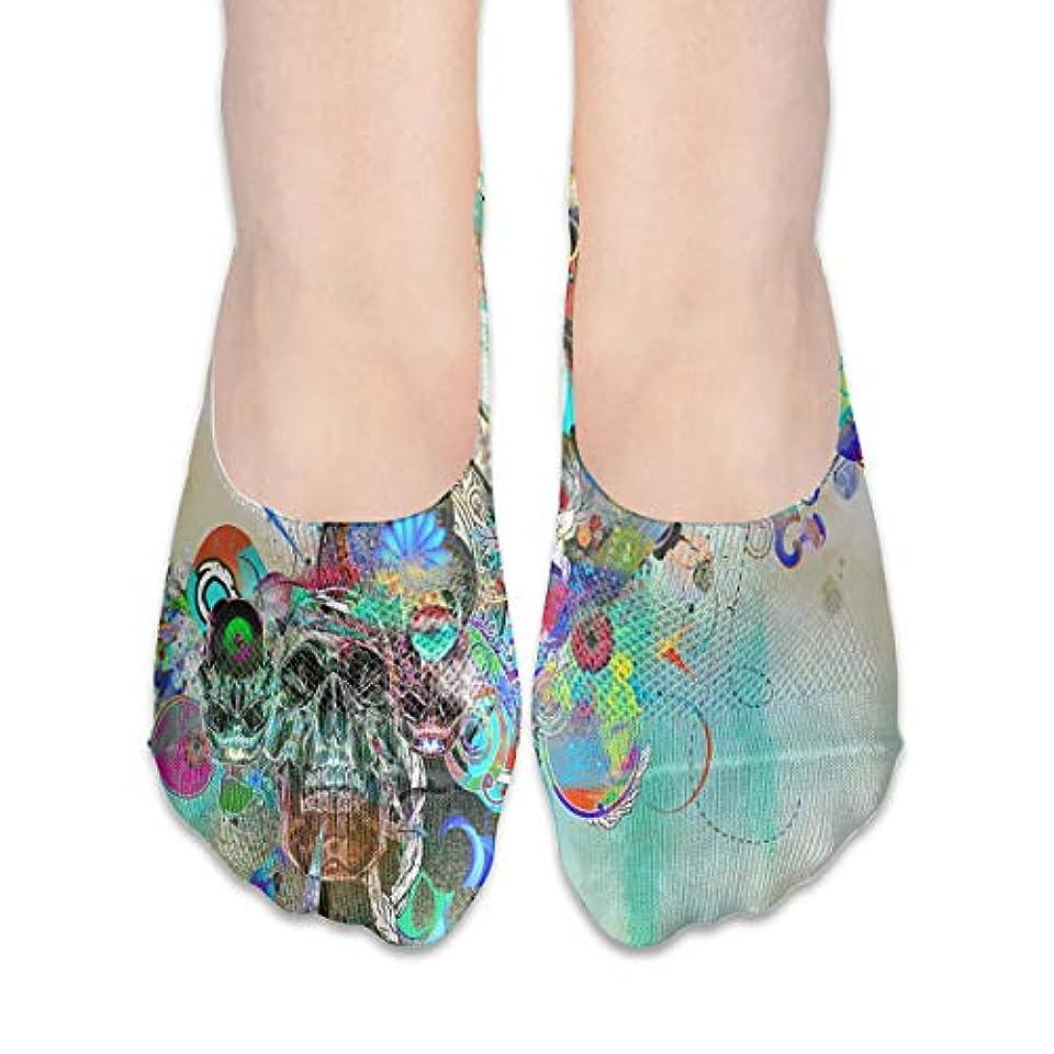 製油所内部アルバニー女性の抽象スカルアートローカットコットンボート隠し目に見えない靴下