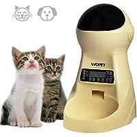 WOpet 自動給餌器 自動餌やり器 猫 中小型犬用 ペット自動餌やり機 タイマー式 録音可 最大15日連続自動給餌 3.5L容量 中小型犬猫 (黄色/ブラック)