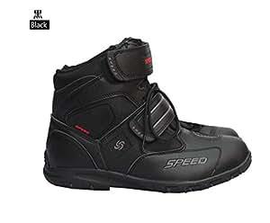 レーシングブーツ/プロテクショロードブーツ/バイク用ブーツ/ショートブーツ 防寒 強化防衛性 ライダーブーツ サイズ40(25-25.5cm約)ブラック