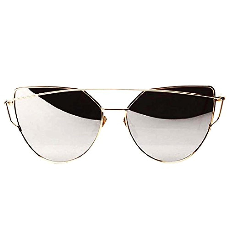【ノーブランド品】 ユニセックス メタル サングラス メガネ 偏光レンズ UVカット 反射光カット 全6色 - シルバー