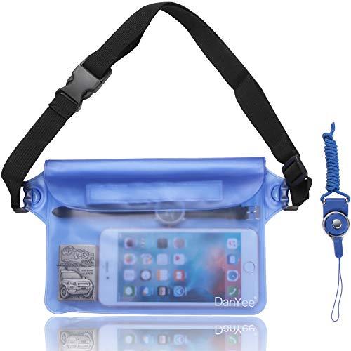 Danyee 防水ポーチ [一年間品質保証] 3重チャック PVC素材 (ブルー) 海水浴 プール ウエストバッグ 防水パック 防水 携帯 (ブルー)
