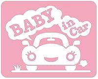 imoninn BABY in car ステッカー 【マグネットタイプ】 No.25 クルマさん (ピンク色)