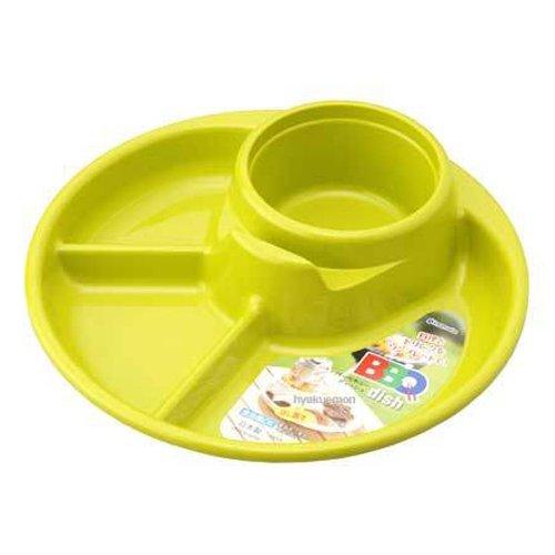 バーベキュー皿 仕切り付 グリーン
